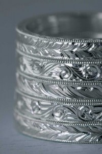 hand engraved ring bands half view