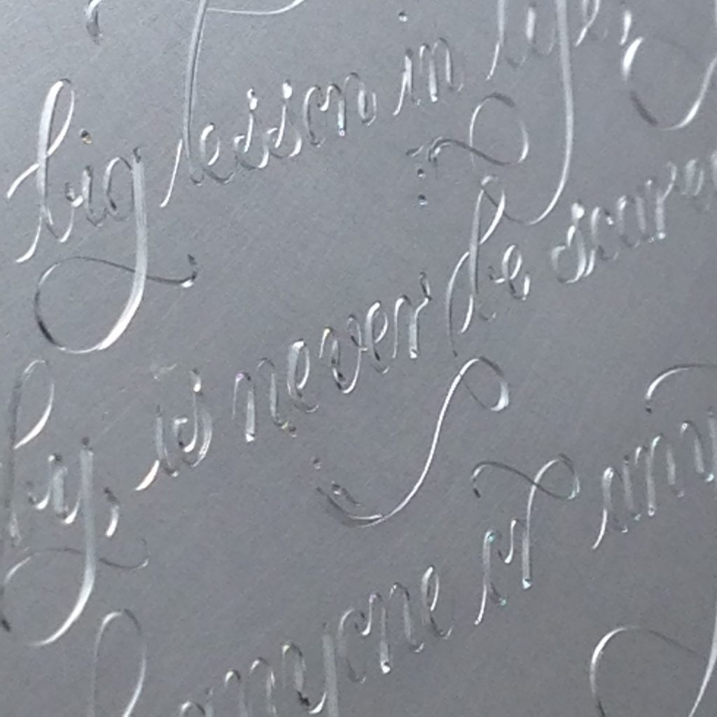 Engraving a lettering quote